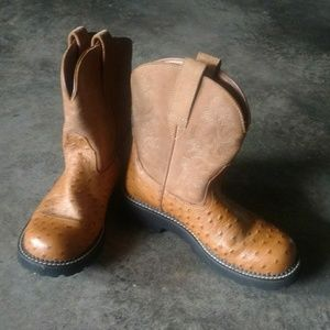 Ariat Ostrich & Suede Fatbaby Western Boots 8.5B